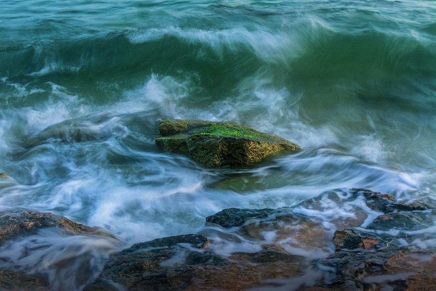 Aqua Photograph - Wave On Rocks by Vicente Sargues