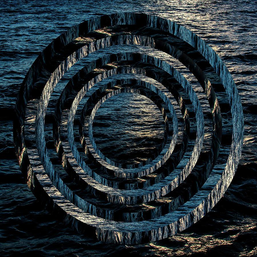 Waves At Sunset Circles Digital Art