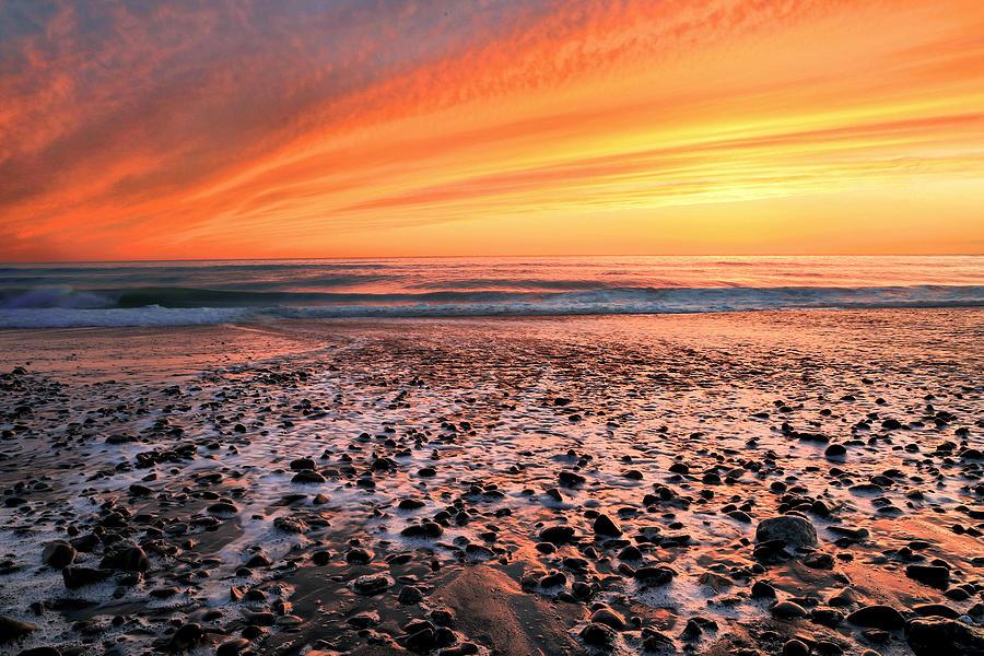 Waves At Sunset Photograph