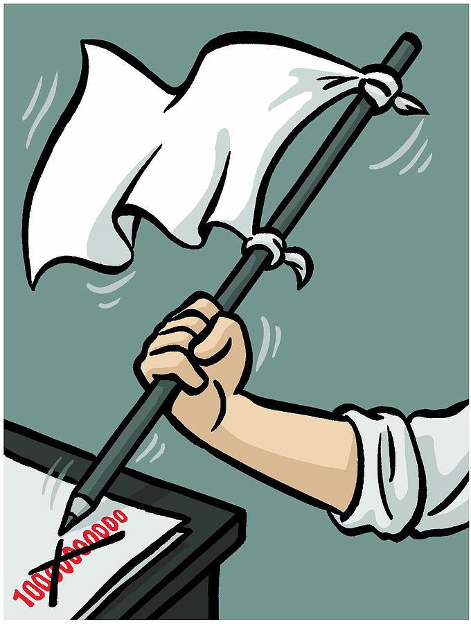 Waving A White Flag Drawing by Christoph Niemann