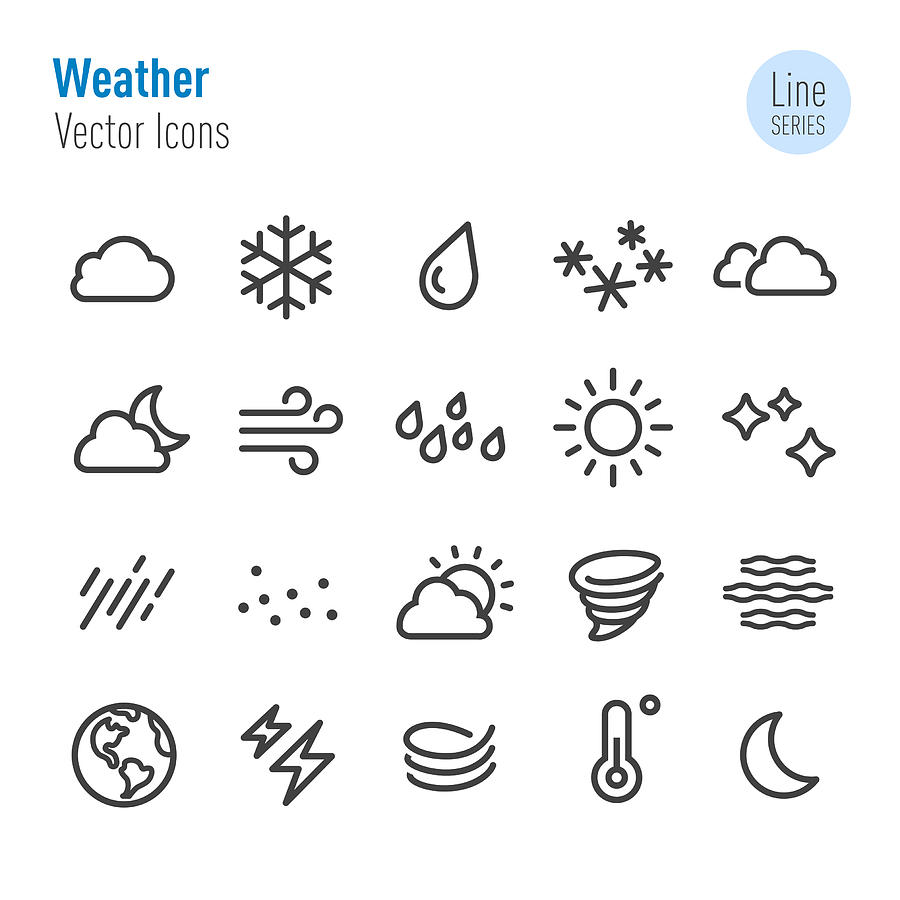 Weather Icon - Vector Line Series Drawing by -victor-