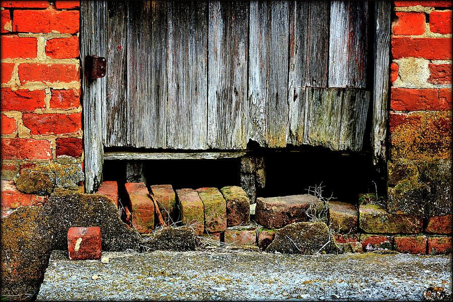 Weather-worn Door And Broken Bricks Photograph