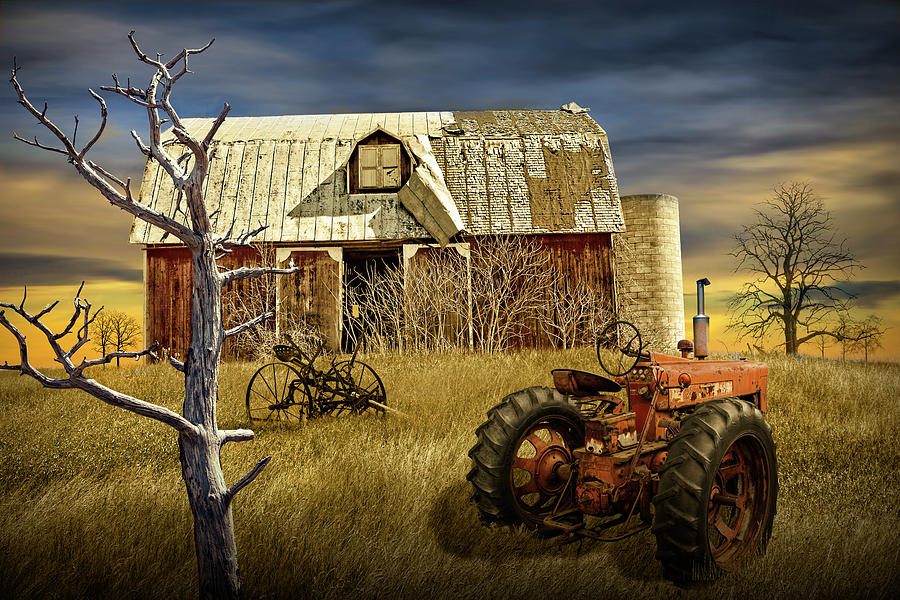 Weathered Barn And Old Farmall Tractor Photograph