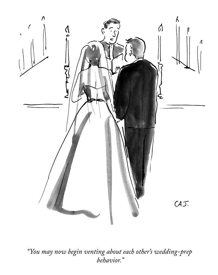 Wedding Prep Behavior Drawing by Carolita Johnson