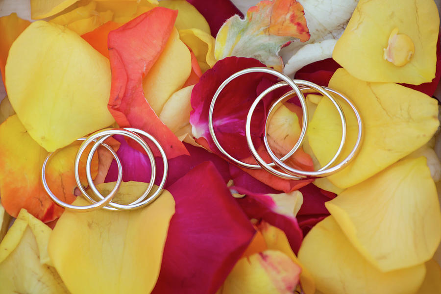 Anniversary Photograph - Wedding Rings On A Rose Petals by Michael Dechev