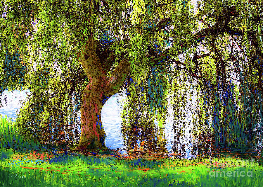 Landscape Painting - Weeping Willow by Jane Small