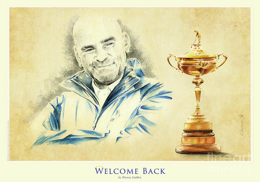 Golfer Painting - Welcome Back - Poster by Olivera Cejovic