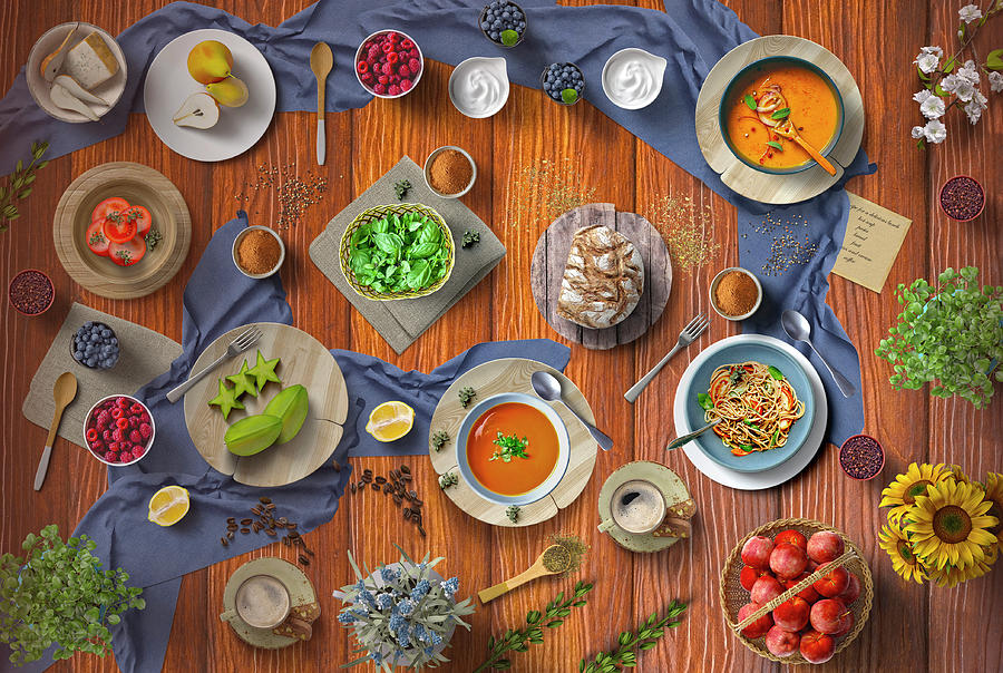 Welcome To My Hot Soup Pasta Bread And Fruit Lunch Table by Johanna Hurmerinta