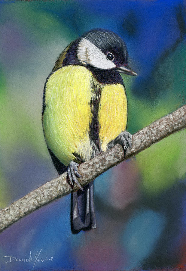 Spring Pastel - Welcome To Spring Chickadee Pastel Painting by Dave Nevue