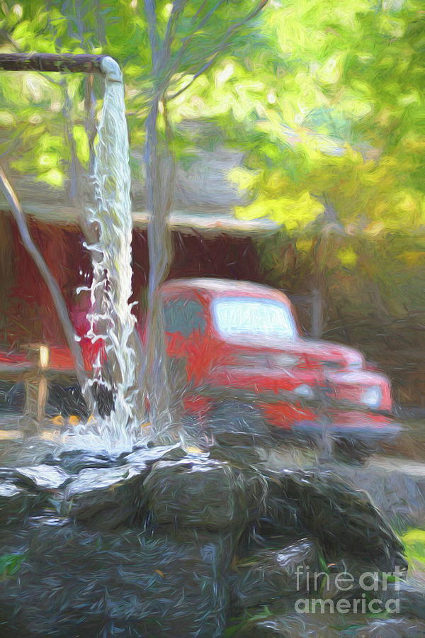 Well Photograph - Well Water Running - Palette Knife and Oil by Chris Mautz