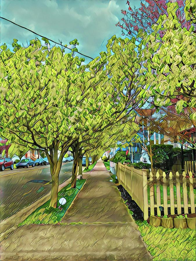 Wesley Sidewalk In Spring Digital Art