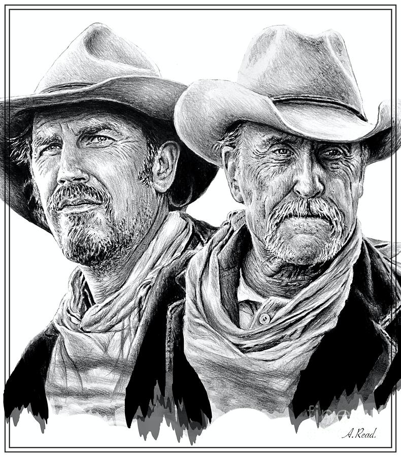 Western Icons 6 Costner And Duvall Drawing