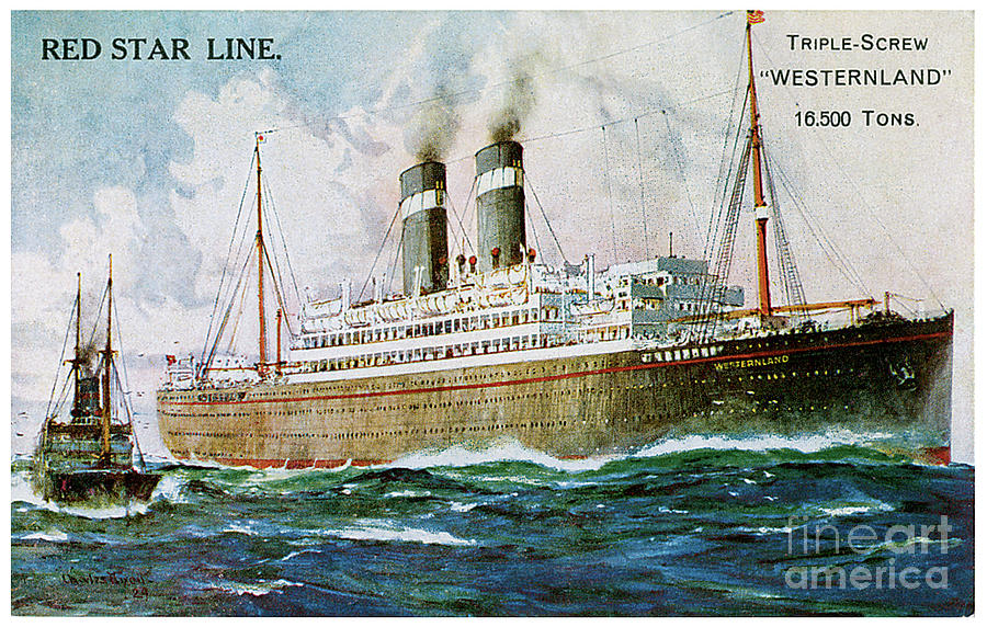 Westernland Red Star Line Travel Postcard Painting