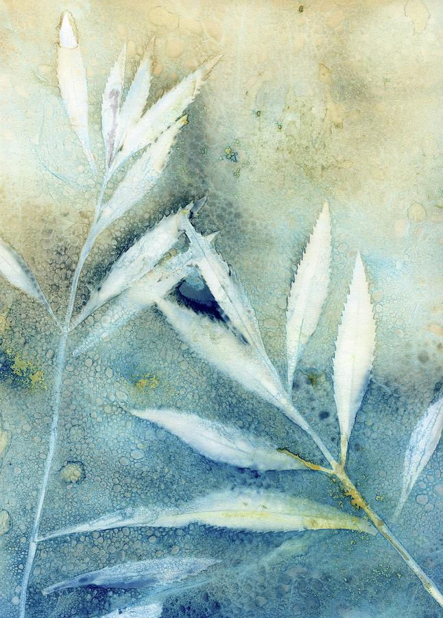 Cyanotype Photograph - Wet Cyanotype leaf botanical ombre by Jane Linders