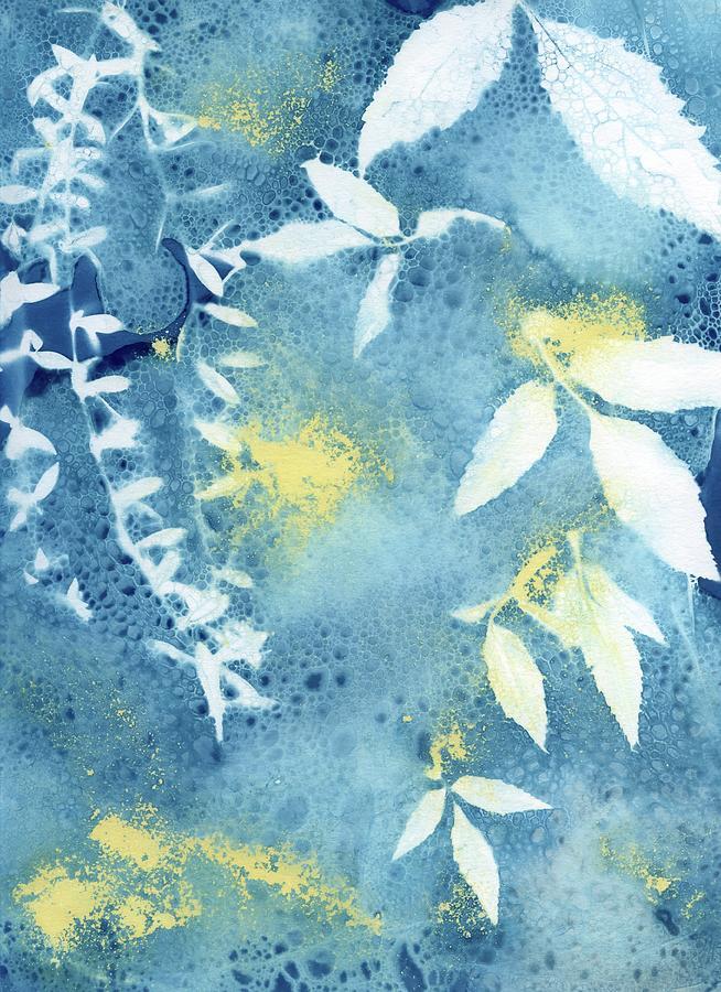 Cyanotype Photograph - Wet cyanotype vine leaf by Jane Linders