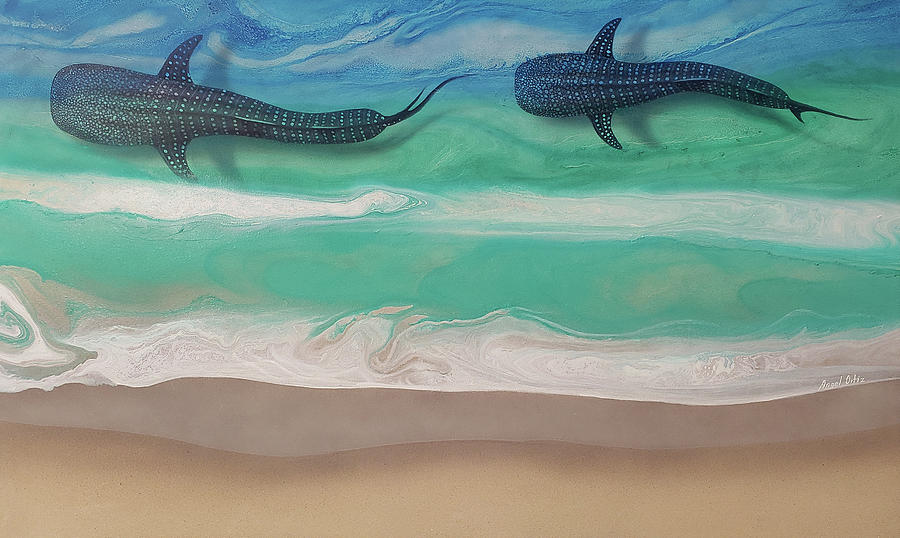 Whale Shark Painting - WHALE SHARK version 2 by Angel Ortiz