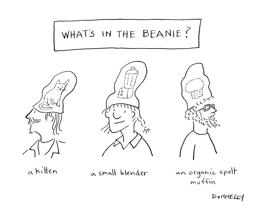 Whats In The Beanie Drawing by Liza Donnelly