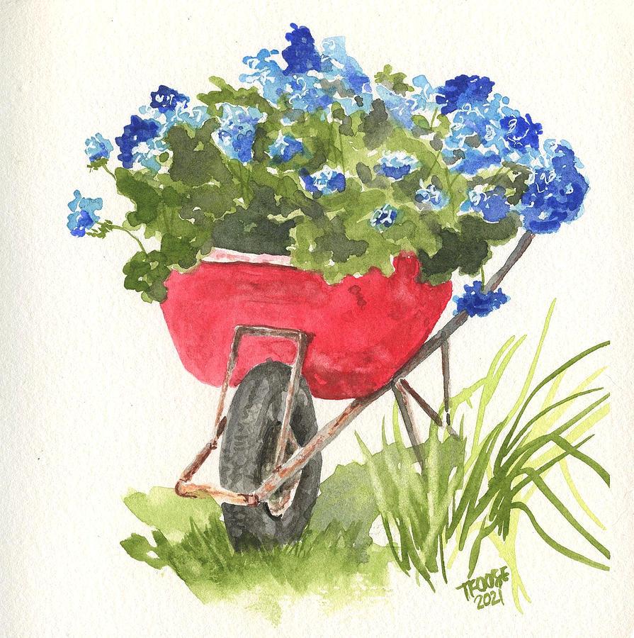 Wheelbarrow Full Of Flowers Painting