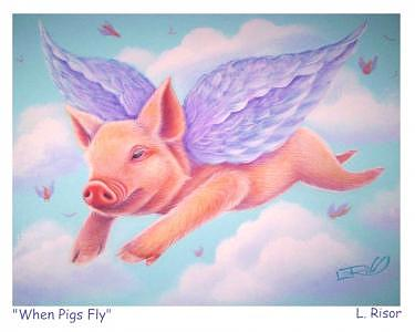 Whimsy Painting - When Pigs Fly by L Risor