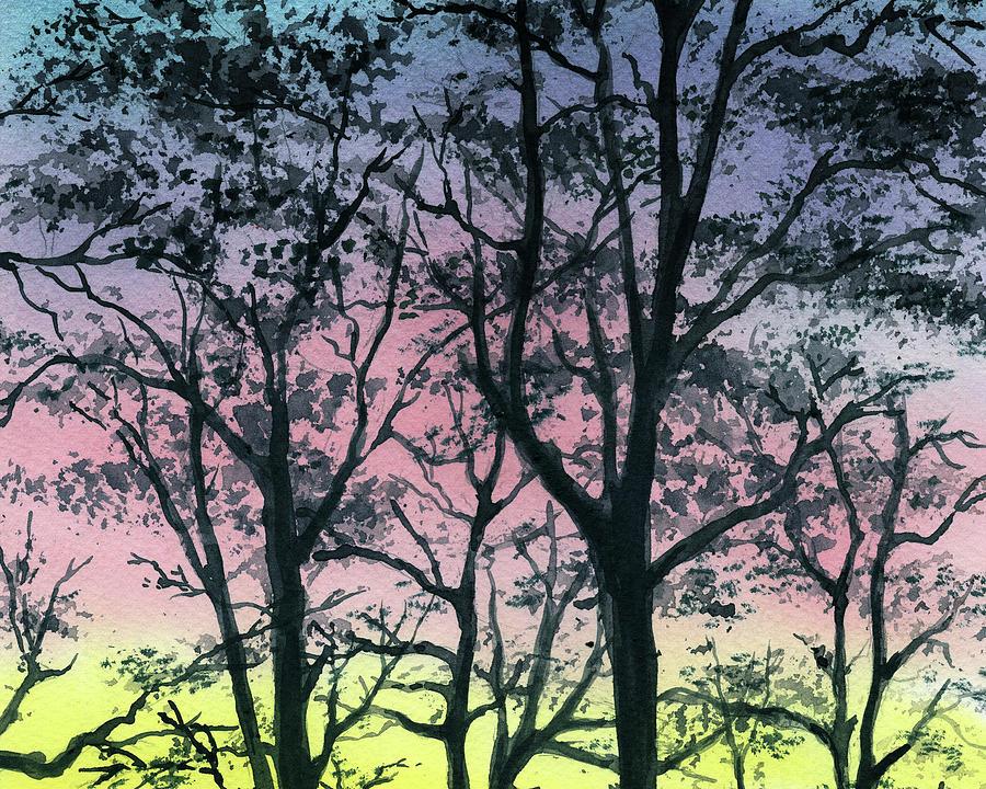 Whimsical Forest Branches Maze Sunrise Watercolor by Irina Sztukowski