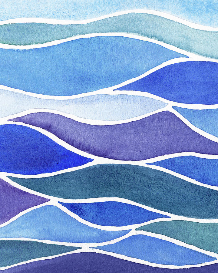 Whimsical Ocean Waves And Lines Watercolor Painting