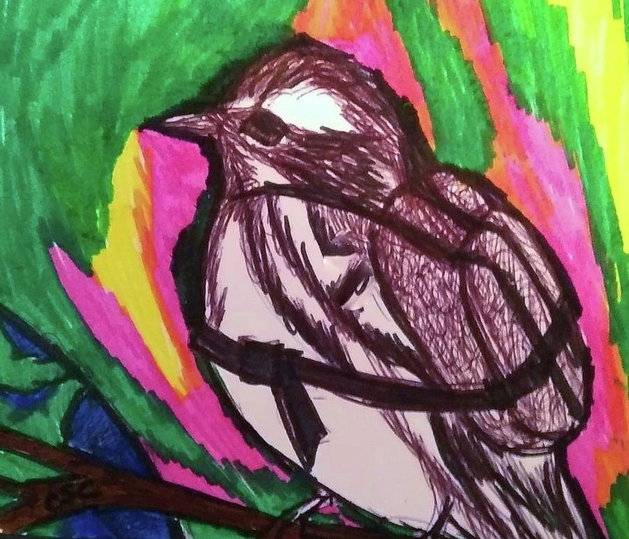 Whimsical Warbler, Travel Life Drawing