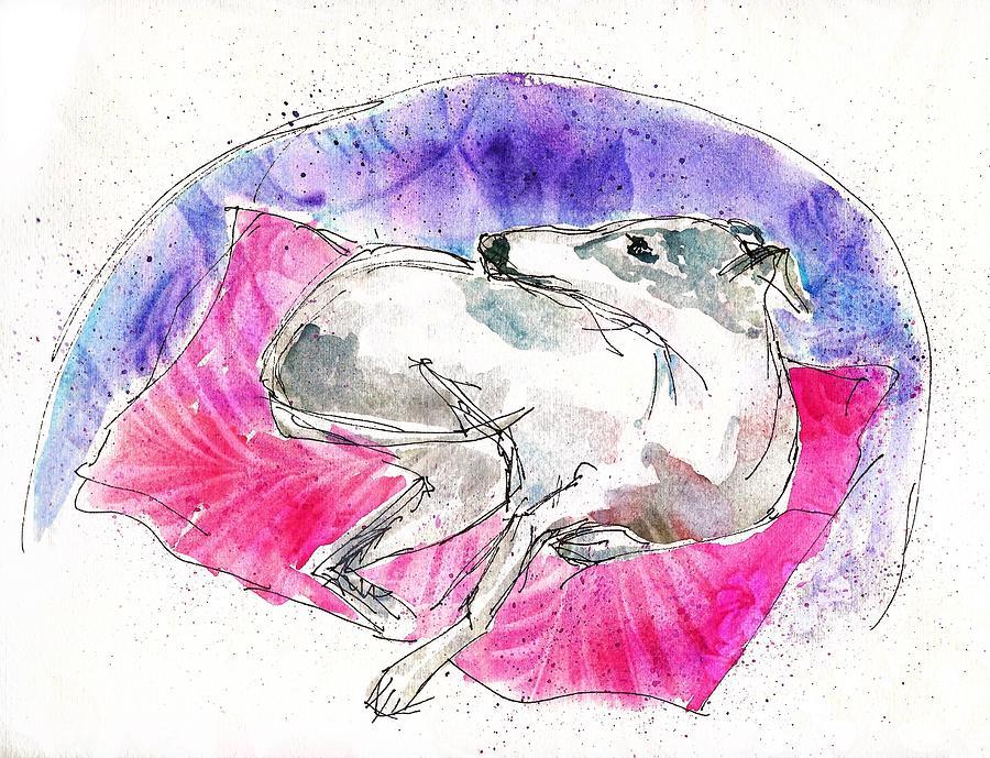 Whippet Painting - Whippet on Garden Chair by Zelda Tessadori