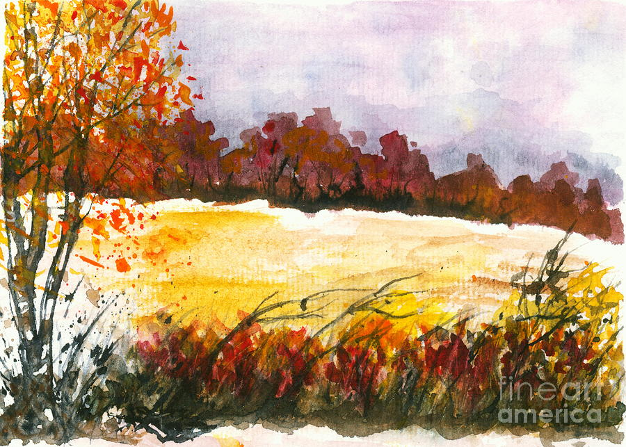 Watercolor Landscape Painting - Whispering Grove Autumn Landscape Painting by Itaya Lightbourne