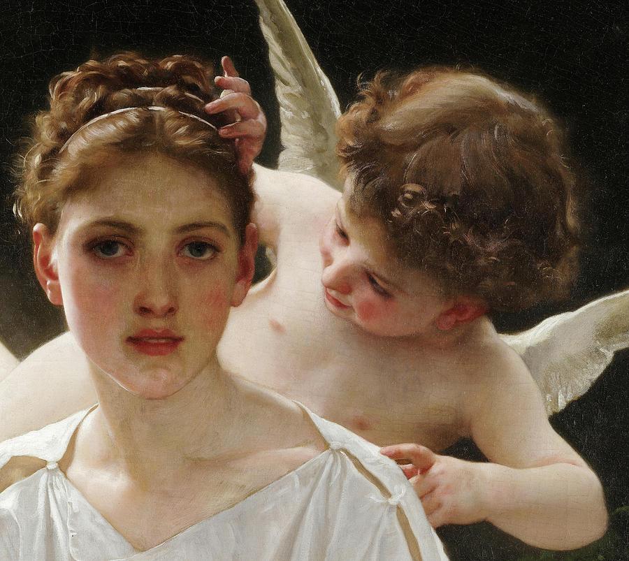 William-adolphe Bouguereau Painting - Whisperings Of Love, Detail No.3 by William-Adolphe Bouguereau