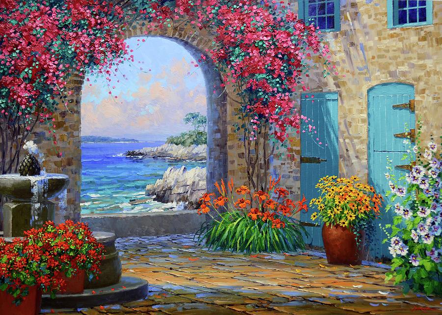 Provence France Painting - Whispers of the Cote dAzur by Mikki Senkarik