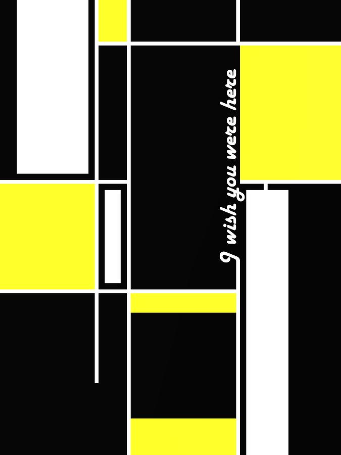White And Yellow Over Black Digital Art