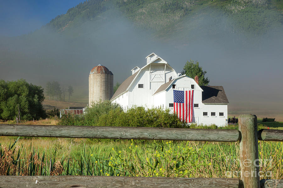White Barn - American Flag - Foggy Utah Photograph