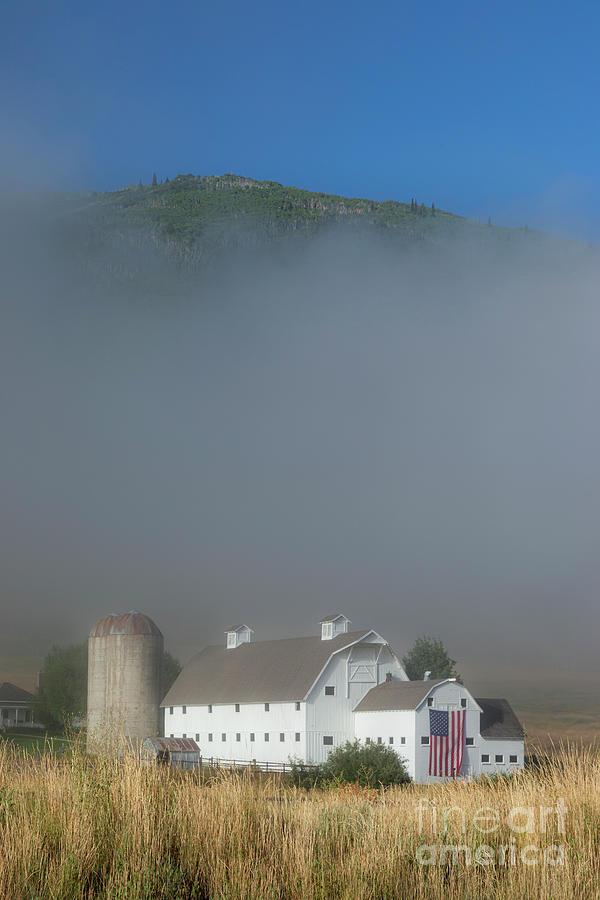White Barn - American Flag - Foggy Utah II Photograph