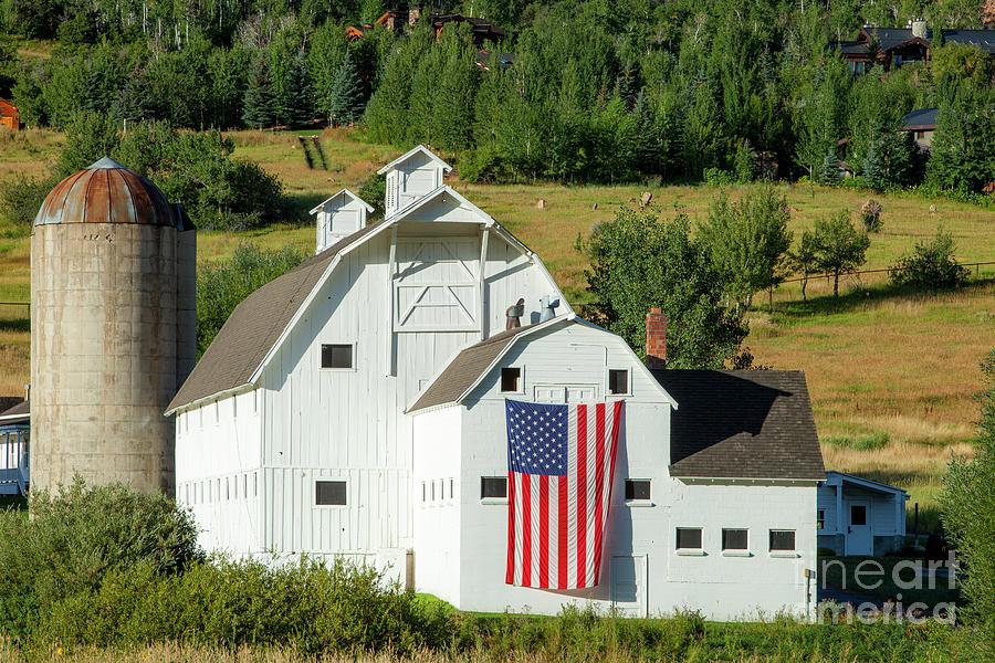 White Barn - American Flag - Utah Photograph