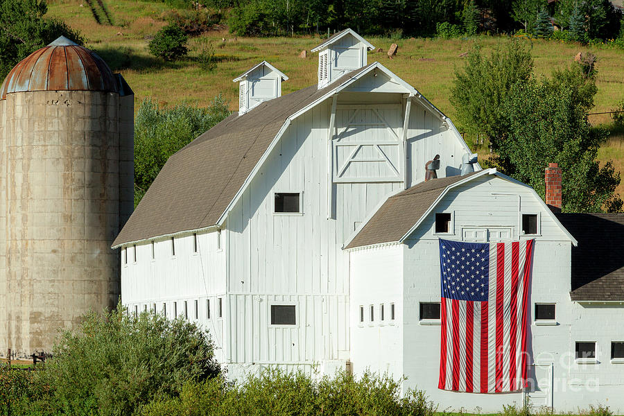 White Barn - American Flag - Utah II Photograph