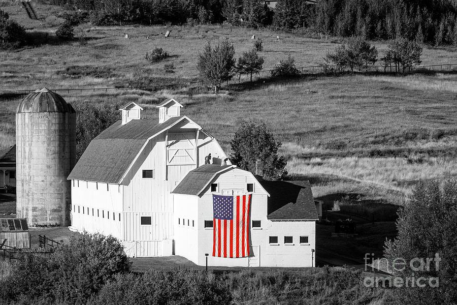 White Barn With American Flag - Horizontal Photograph