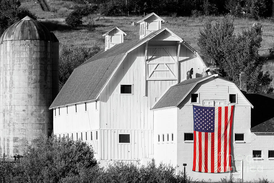 White Barn With American Flag - Horizontal II Photograph