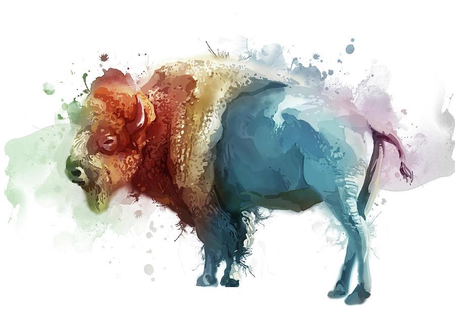 White Buffalo Colorful Digital Art