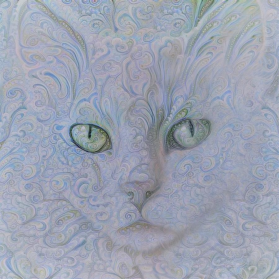 White Cat in Lavender Paisley by Peggy Collins