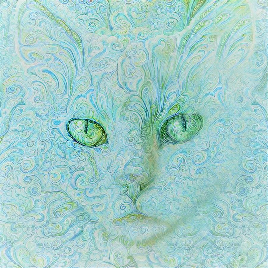 White Cat in Teal Blue Paisley by Peggy Collins
