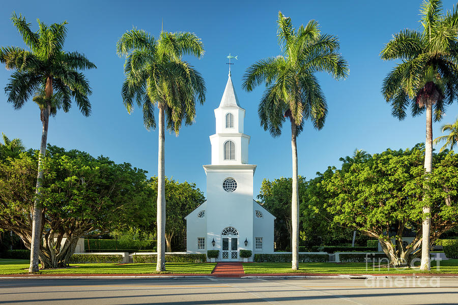 White Church And Palm Trees - Naples Florida Photograph