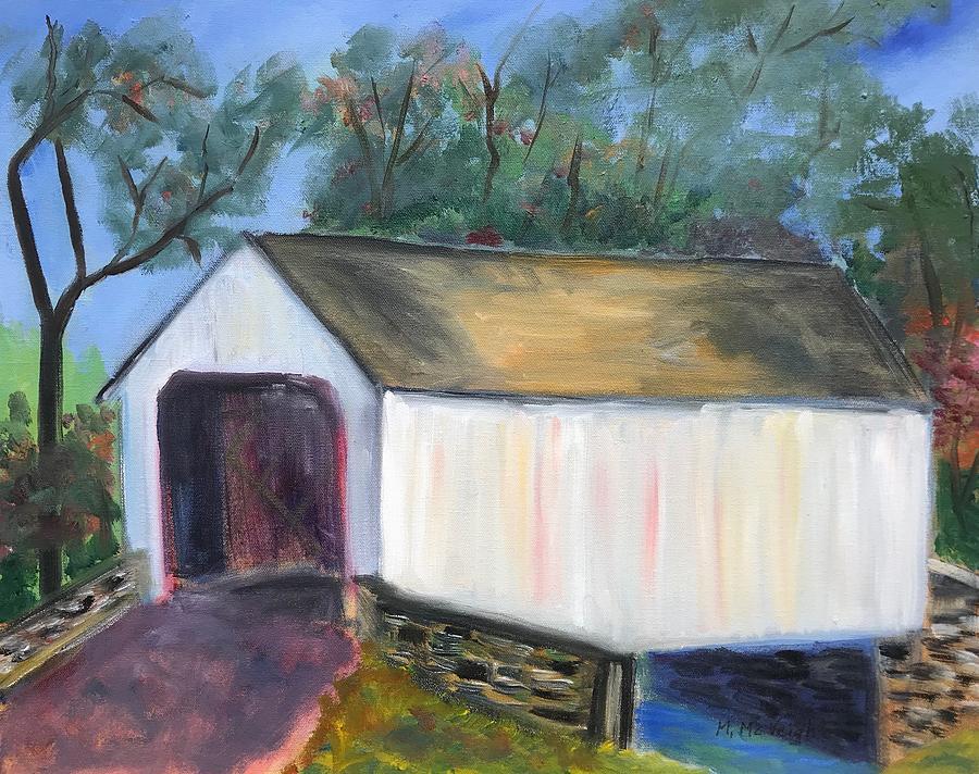 Bucks County Painting - White Covered Bridge by Marita McVeigh