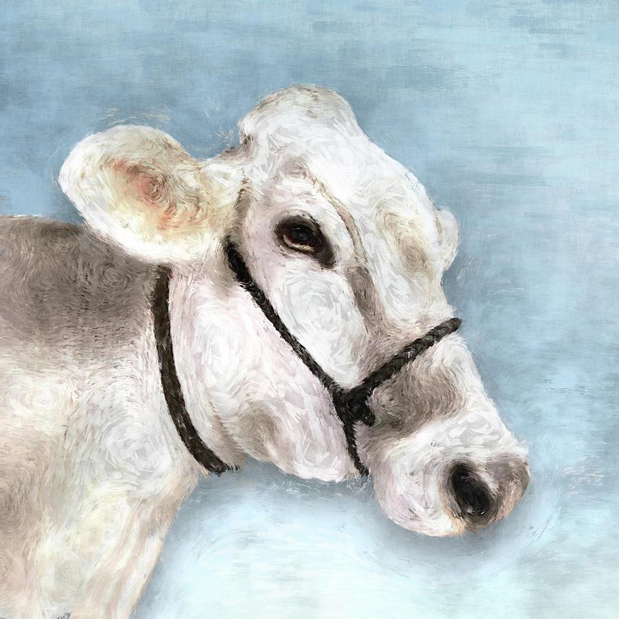 White Cow - Barnyard Animals by Flo Karp
