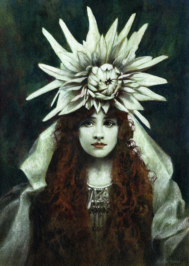 White Dahlia Painting