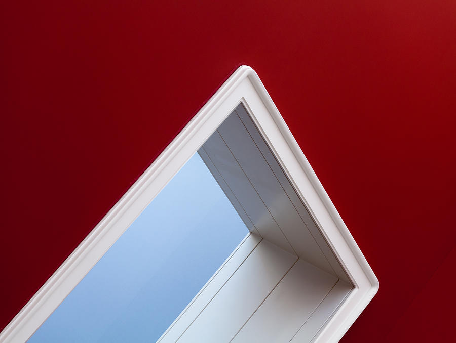 White Doorframe On Red And Blue Wall Photograph by Christian Beirle González
