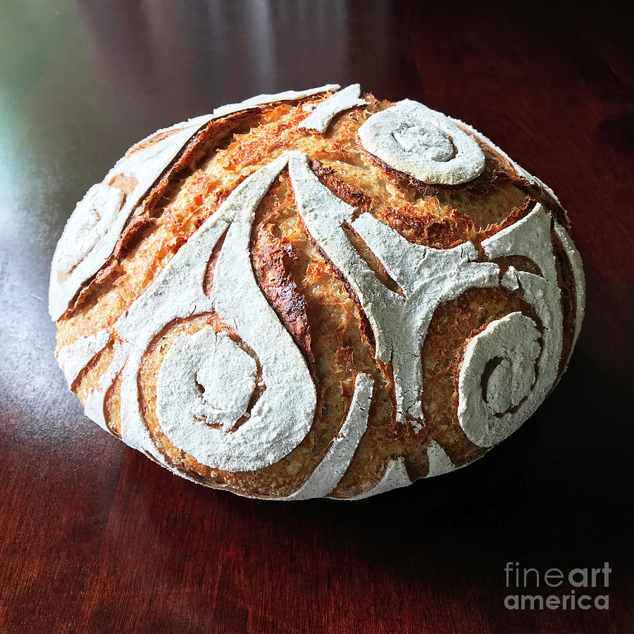 White Flour Dusted Sourdough With 4 Score Designs. 3 by Amy E Fraser