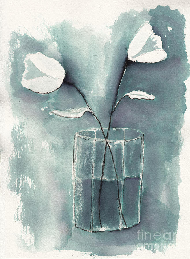 White Flowers In A Glass Still Life Drawing