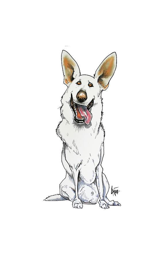 White German Shepherd Drawing