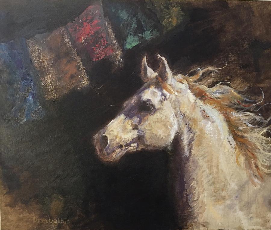 White Horse with Prayer Flags by Ellen Dreibelbis