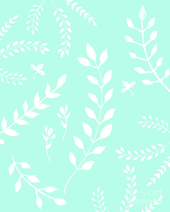 White Leaves Pattern 5 Mint Drawing Decor Art Pastel By Anitas And Bellas Art